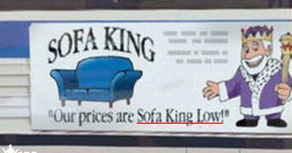 sofa king ad read the slogan out loud winfail picture