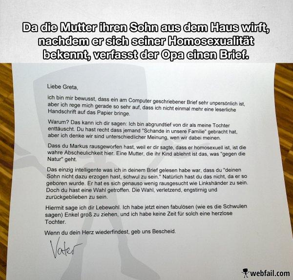 Brief Von Opa An Enkel : Opas brief über den schwulen enkel win bild webfail