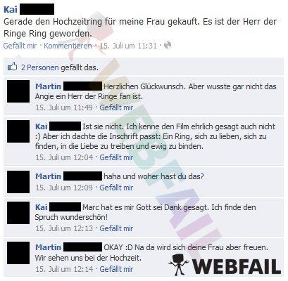 Gerade Den Hochzeitsring Fur Meine Frau Gekauft Facebook Fail Des