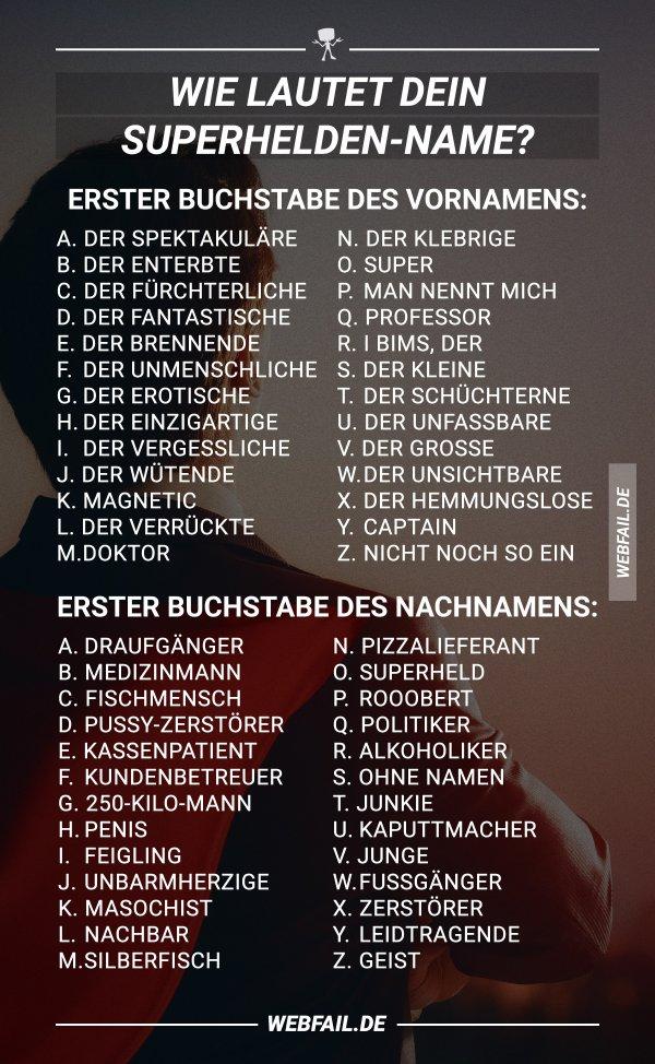 Superhelden Namen